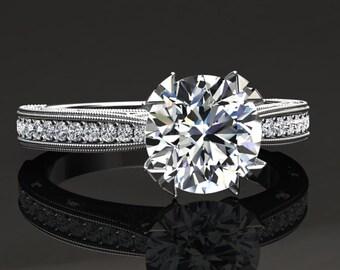Moissanite Engagement Ring Moissanite Ring 14k or 18k White Gold Matching Wedding Band Available W21MOISW