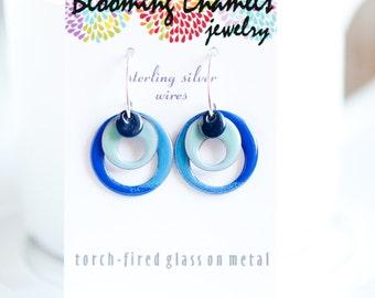 Small Hoop Earrings, Hippie Boho, Copper Enamel, Artsy Earrings, Handmade Ear Wires, Hoop Earrings, Dangle Earrings, Funky Artsy Earrings
