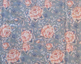 Blue with Peach Roses Cotton
