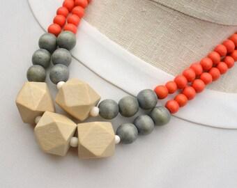 orange statement necklace / orange and grey necklace / summer necklace / geometric / orange beaded necklace / wood bead necklace / trends