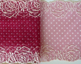 Fun dotty pink embroidered galloon lace  8.00 inches wide, non stretch, priced per metre