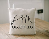 Personalized Pillow Cover, 2 Initial and Special Date 16 x 16, wedding, engagement gift, newlywed, wedding shower, throw, cushion cover