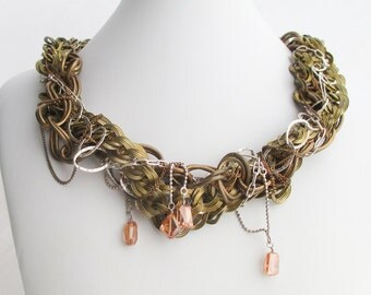 SALE - Tangled Vintage Brass and Sterling Silver Chain Cluster Statement Necklace