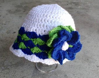 Seattle Seahawks crochet flapper hat with flower, blue, green, white, beanie