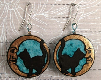 371 First Cat On The Moon Celestial Mori Girl Steampunk Boho Cat Recycled Jewelry Lightweight Earrings