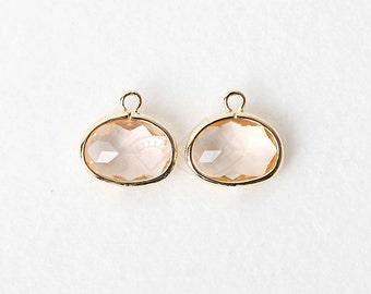 1055011 / Light Peach / 16k Gold Plated Brass Frramed Glass Pendant  9mm x 11mm / 0.7g / 2pcs