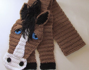Horse Lover Gift, Crochet Horse Scarf, Horse Gift, Girls Scarf, Fun Animal Scarf