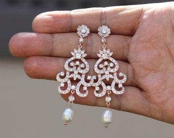 rose gold bridal jewelry bridal earrings wedding jewelry wedding earrings rose gold earrings