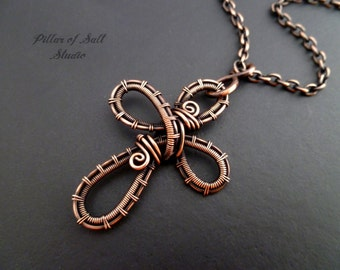 Wire wrapped jewelry handmade pendants rings by pillarofsaltstudio wire wrapped cross pendant wire wrapped jewelry handmade copper jewelry wire jewelry publicscrutiny Image collections