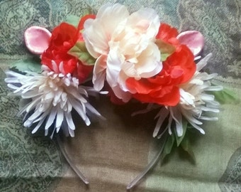 Flower Headband with Cute Ears