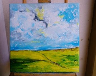 Ukraine, original art, ABSTARCT oil painting on canvas, palette knife work, landscape painting, home decor, ON SALE