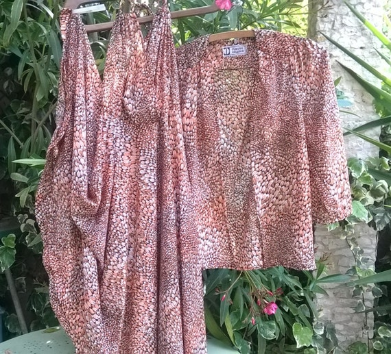 Vintage Claude Valerie Circle Dress Suit Sleeveless Orange and Black Scales Prints Crepe Fabric Medium Made in France Tag #sophieladydeparis