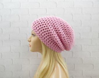 Pink Slouch Hat, Vegan Beanie Hat, Oversized Hat, Womens Beanie, Crochet Pink Hat, Slouchy Winter Hat, Baggy Hat, Slouchy Beanie