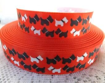 Scottie Dog ribbon Scottish Terrier grosgrain ribbon 7/8 dog printed Grosgrain ribbon