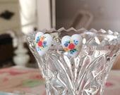 Floral Limoge Stud Earrings, Heart Shape, Colorful Bouquet, Set in Sterling Silver