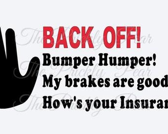 Bumper Humper car window decal
