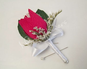 Paper flowers,wedding flowers,bridal boutonniere,tulip buttonhole,paper  buttonhole,paper flowers boutonniere.