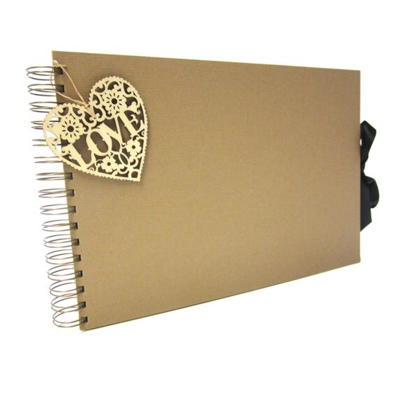 Love Ribbon A4 Scrapbook, Photo Album, Guestbook, x80 Sides, Kraft Paper Covered, White/Black/Kraft Pages