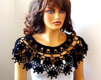 Black Lace Bride Bridesmaid Shawl Bolero Wrap Shrug Capelet, Black Lace Wedding Wrap, Woman Summer Shawll