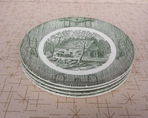 Yoke and Plow Plates Currier and Ives Green Oxbow SCIO Dinnerware Collectible Plates Set of Four Barn Scene