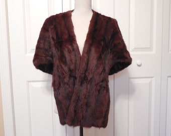 Vintage Dark Brown Mahogany Natural Mink Fur Stole Cape Wrap Capelet Shawl Shrug Jacket by Kerrybrooke by Sears Roebuck And Co USA 1950's