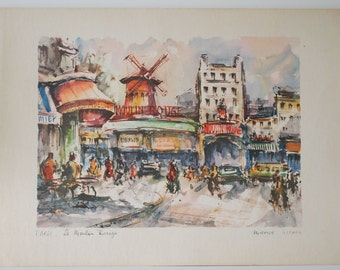 Vintage Print of the Moulin Rouge by Marius Girard