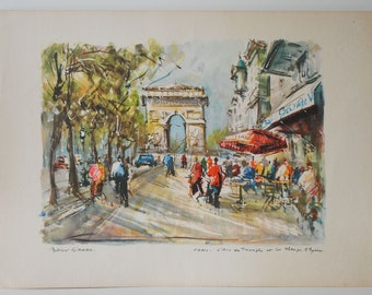Vintage Print of the Arc de Triomphe & Champs Elysees by Marius Girard
