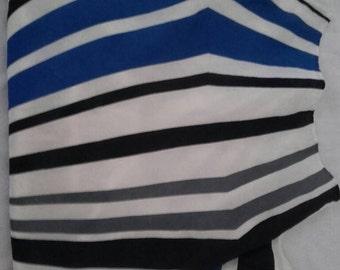 White blue and black silk scrap