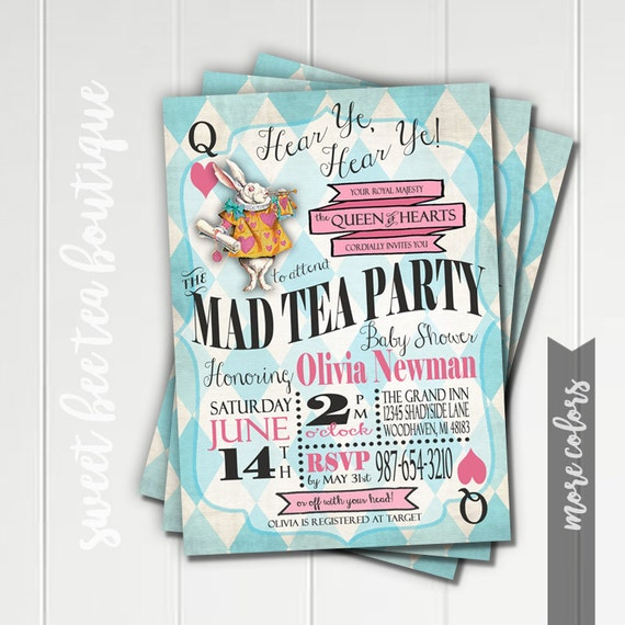 alice in wonderland baby shower invitation boy or girl printable