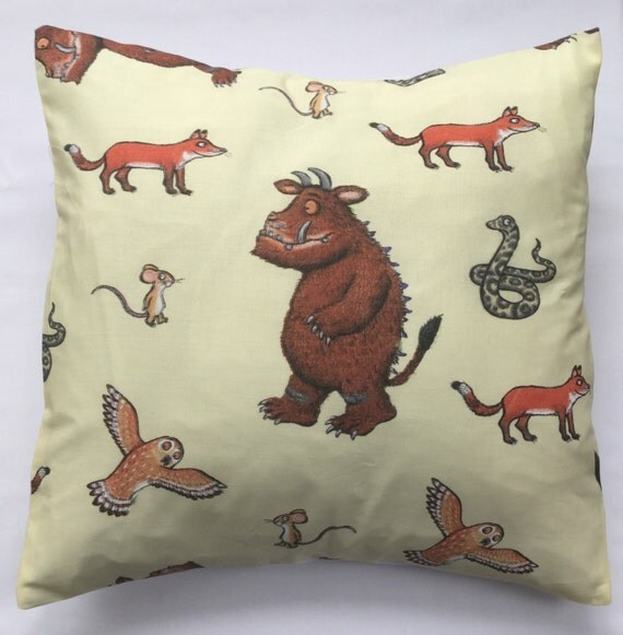 the gruffalo fabric cushion handmade by alien couture