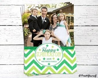 St. Patricks Day Photo Card // Personalized Printable Green Chevron St. Patricks Day Photo Card // Photo Card // Irish Photo Card