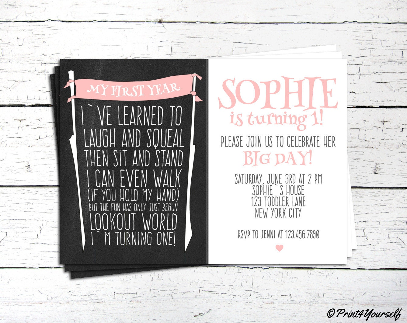 First Birthday Invite // Personalized Printable Baby Girl First Year ...