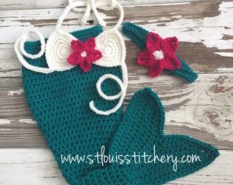 Baby Girl Mermaid Photo Prop Set - Includes Tail, Bikini Top & Headband / Size 0-3 Months **READY TO SHIP**