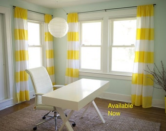 Delightful Available Now, On Set/pair Of Buttercup Yellow And White Wide Stripe  Curtain Panel