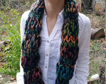 free worldwide shipping, multicolor handmade knit wool cowl, neckwarmer, infinity scarf, ready to ship