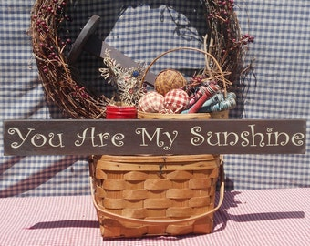 """You Are My Sunshine painted wood sign 3.5"""" x 30"""" choice of color"""