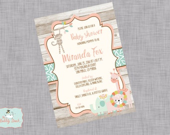 Tribal Girl Jungle Baby Shower invitations