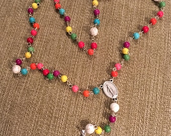 Rosary made from colorful beads  with Sterling Silver Cross