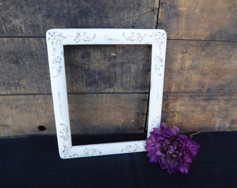 Hand Painted Wood Open Photo Frame with 8 X 10 opening ~ Distressed Creamy White ~ Ornate Wedding ~ Romantic Country Shabby Chic