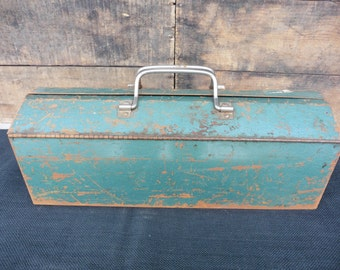 Vintage Wizard Steel Metal Tool Box Toolbox Chest with Tray ~ Industrial Urban Farmhouse Man Cave Home Decor