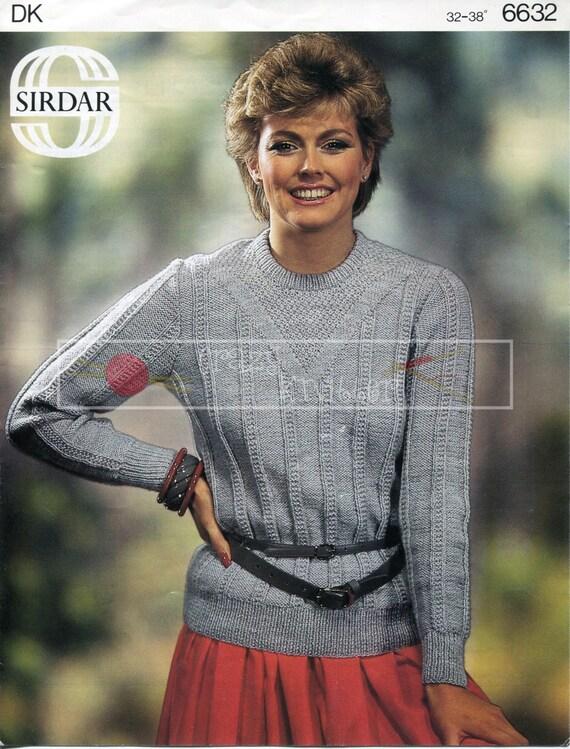 "Lady's Sweater 32-38"" DK Sirdar 6632 Vintage Knitting Pattern PDF instant download"