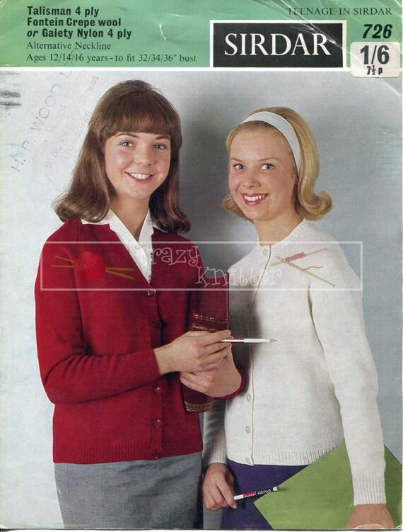 Teenage Cardigan 12-16 years 4ply Sirdar 726 Vintage Knitting Pattern PDF instant download