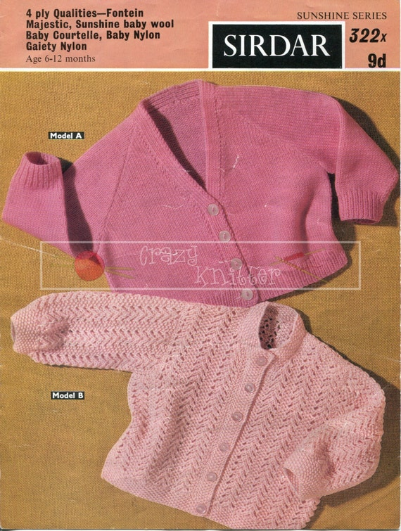 Baby Shortie Cardigans 6-12 months 4ply Sirdar 322 Vintage Knitting Pattern PDF instant download