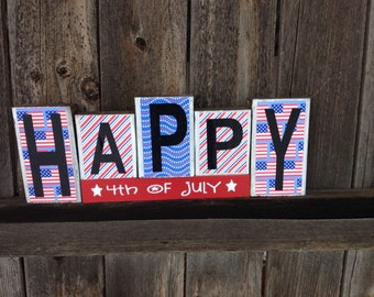 4th of July blocks-Happy 4th of July-usa stars