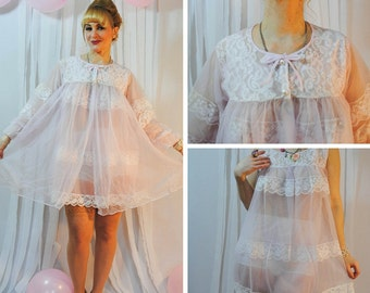 Pink Vintage Peignoir Set Robe and Nightgown