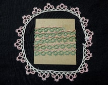 37 Inches of Vintage 1940s Tatted Lace in 2 Pieces, 23 & 14 Inch Pieces, Pink and Green and Pink and Ivory Pieces, Vintage Hand Tatted Lace