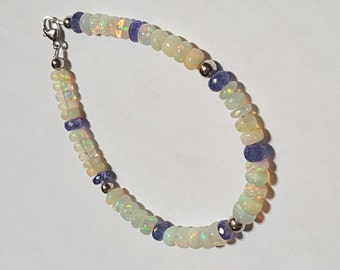 35.51ctw Tanzanite & African Fire Opal 14kt White Gold Bead Bracelet 7 inch