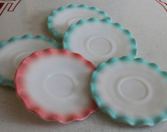 Beautiful Set of 5 Crinoline Ripple Saucers 4 Turquoise 1 Pink by Hazel Atlas