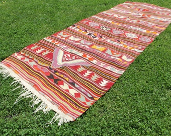 One of a Kind Vintage Kilim Sci-fi Rug -  FREE SHIPPING in USA!!