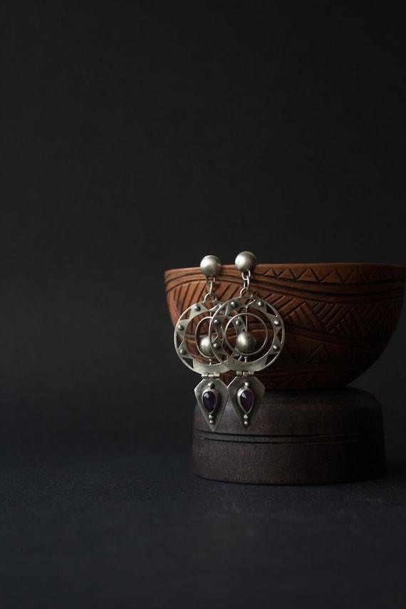 Space silver amethyst earrings, silver space stones, amethyst earrings fantasy, fantasy jewelry, earrings fantasy silver